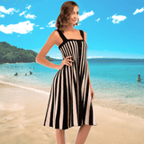 Striped Summer Dress | Women's Knee Length Sundress-dress-Vinny's Digital Emporium