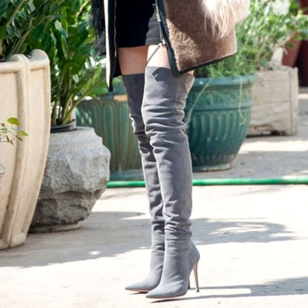 Faux Suede Leather Thigh High Boots-Thigh high boots-Vinny's Digital Emporium