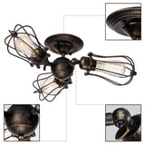 Vintage Ceiling Light Industrial Rotatable Semi-Flush Mount Ceiling Light Metal Lamp Fixture-Light Fixture-Vinny's Digital Emporium