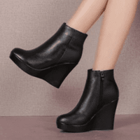 Genuine Leather Wedge Heels Boots | Womens Platform Boots-wedge heels boots-Vinny's Digital Emporium