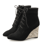 Wedge Heel Ankle Boots | Lace Up Wedge Heel Boots-ankle boots-Vinny's Digital Emporium