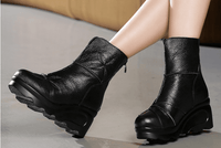Wedge Heels Boots | Genuine Leather Ankle Boots-wedge heels boots-Vinny's Digital Emporium