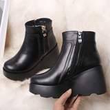 Black Wedge Heels Platform Boots Genuine Leather-platform boots-Vinny's Digital Emporium