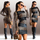 Women's Mini Dress Party Fashion Sexy Leopard Print Splice Long Sleeve Dresses-dress-Vinny's Digital Emporium