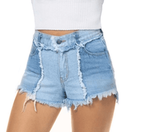 High Waisted Denim Shorts | Vintage Patchwork Women's Jean Shorts-shorts-Vinny's Digital Emporium