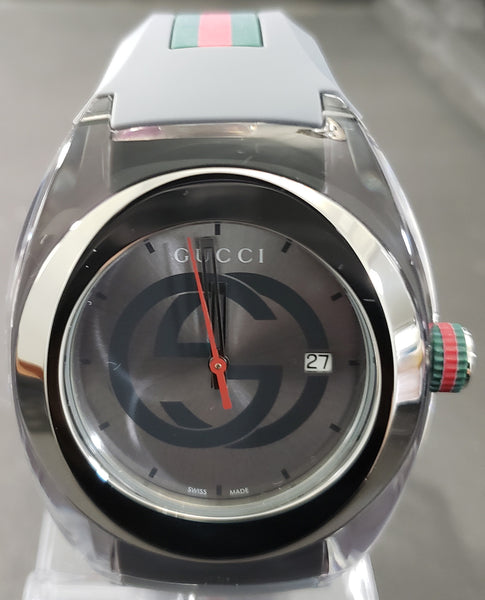 187cdb95f9c Gucci SYNC XXL Stainless Steel Watch with Grey Rubber Unisex Watch YA137109  - Retail  495 (