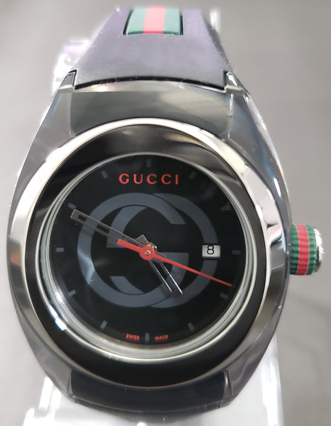 0dde3a895a5 Gucci SYNC Swiss Black Striped Rubber Strap Watch 36mm Unisex Watch YA137301  - Retail  495 (