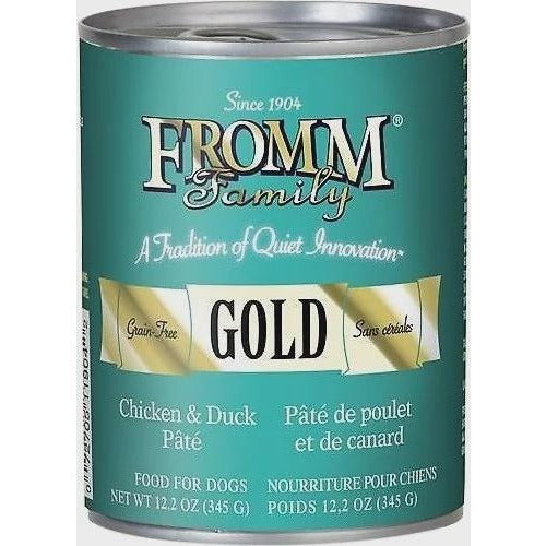 FROMM GOLD GRAIN-FREE CHICKEN AND DUCK PATE CANNED DOG FOOD, 12.2 oz