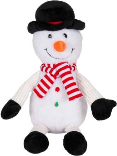 "WAGS & PURRS HOLIDAY 14.5"" SNOWMAN WITH SCARF & HAT SQUEAKER DOG TOY"