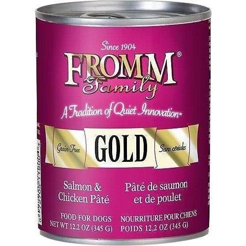 FROMM GOLD GRAIN-FREE SALMON AND CHICKEN PATE CANNED DOG FOOD, 12.2 oz