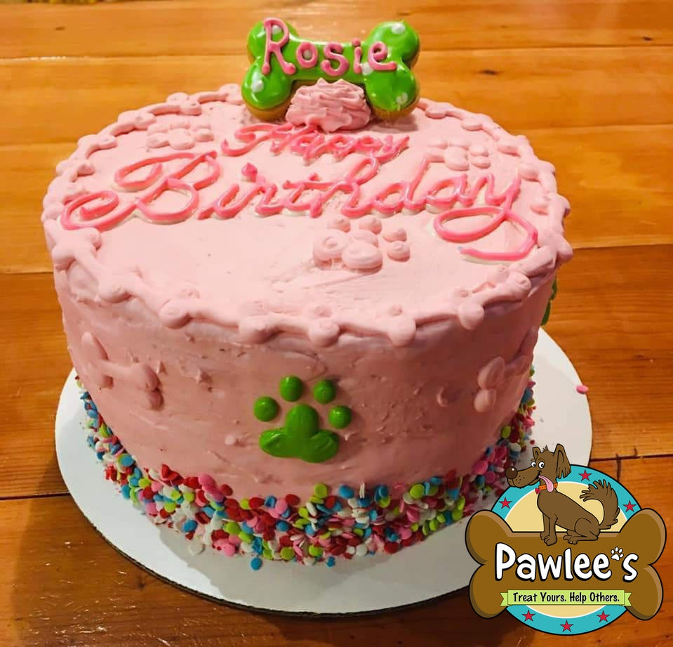 HAPPY BARKDAY DOGGIE CAKE FANCY PINK WITH LIME PAWS