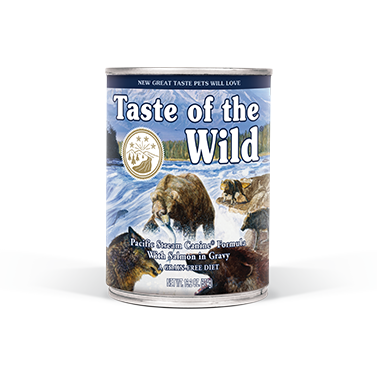 TASTE OF THE WILD PACIFIC STREAM CANINE FORMULA WITH SALMON IN GRAVY CANNED DOG FOOD 13.2 OZ