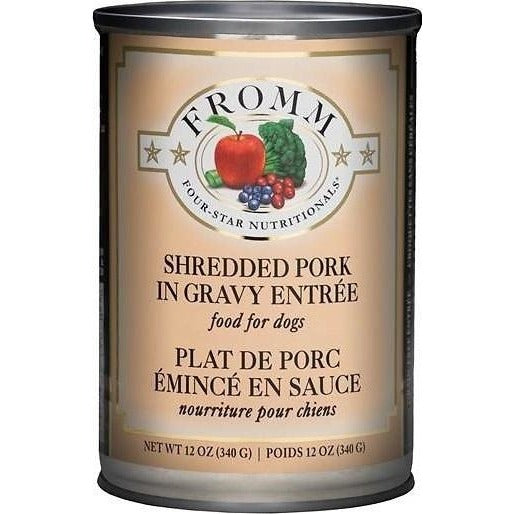 FROMM FOUR STAR GRAIN FREE SHREDDED PORK IN GRAVY ENTREE CANNED DOG FOOD, 12 oz