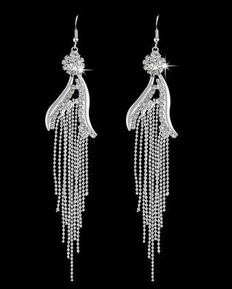 DIAMONDS RIBBONS CRYSTAL DANGLE EARRINGS