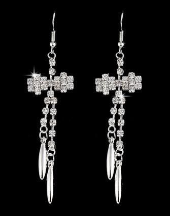 BOW BLING CRYSTAL DANGLE EARRINGS