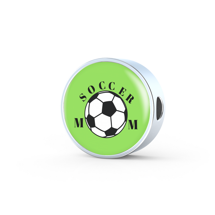 Soccer Mom Charm and Leather Bracelet