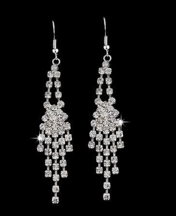 CRYSTAL CLUSTER DANGLE EARRINGS