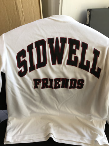 White Long Sleeve Sport Tech Sidwell Friends T-shirt - Adult Sizes