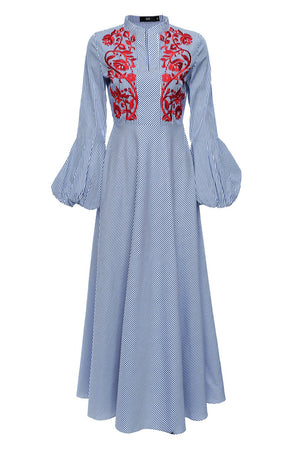 Designed by HIJAB-HOUSE Australia  Flattering maxi dress featuring circle skirt, red embroidery on chest and balloon sleeves.   Fabric & Care