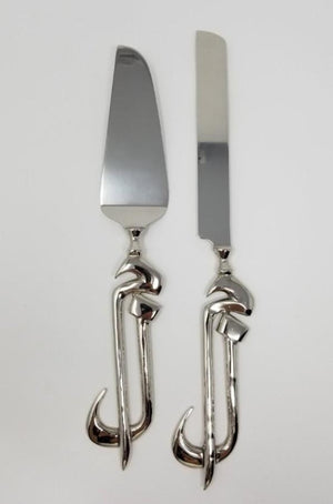 BRASS CAKE SERVER SET NICKLE PLATED 2PC (LAAM-MEEM)