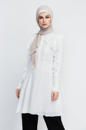Modest Islamic Clothing- Designed by HIJAB-HOUSE Australia  Midi length collared dress with a ruffle feature around neckline and sleeves. It also has a sheer overlay of polka-dot prints along the sides of the waist.