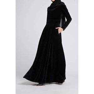 Black velvet dress designed by HIJABIMAMA. Best Eid outfit
