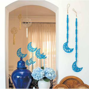 Wooden Beaded Crescent Moon Dangler