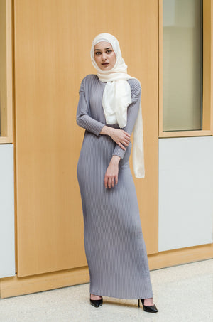 Pleated dress features Asiyam straight neck and long sleeves. Perfect as a layering piece   Regular / stretch fit 100% polyester  Designed in Australia by Asiyam