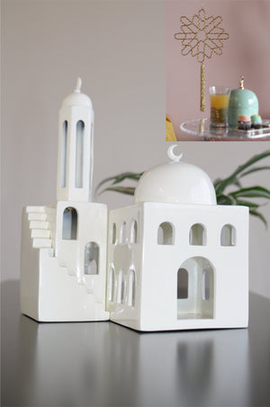 PRE-ORDER Mosque, Minaret & Colored Dome Jar + 2 Geometric Beaded Tassels Bundle