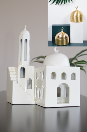 PRE-ORDER Mosque, Minaret & Dome Jar + 2 Geometric Beaded Tassels Bundle