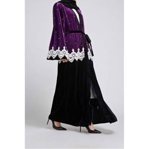 Exquisite Violet and Black Abaya with White lace and pearl embellishment.