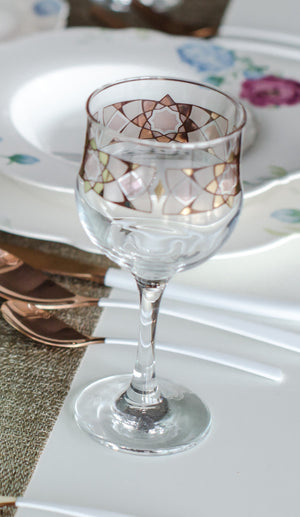 Stemware- The beautiful colors of this interweaved design tell stories and tales in a modern style which shines with magic and breathes life   Made in Jordan