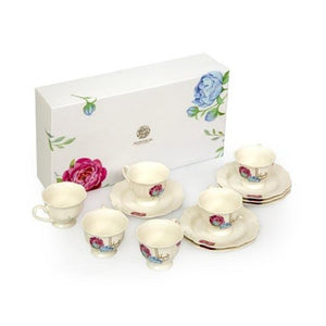 PORCELAIN COFFEE CUP & SAUCER -FLOWER-SET OF 6