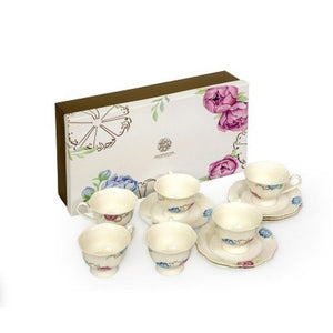 PORCELAIN TEA CUP&SAUCER-FLOWER SET OF 6