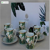 Leaves Porcelain Coffee Cup Set of 6