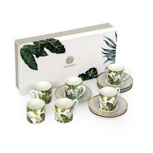 Porcelain Coffee Cup-Leaves- Set of 6