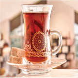 Like a glowing medallion in the sky, Shams shines with colors through a clear veil.  Made in Jordan Includes 26 PCS (6 coffee cups, 6 teacups, 6 tumbler set, and 1 sugar bowl with lid.)