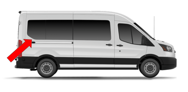 "Ford Transit 2015+ Rear-quarter panel Passenger-side Fixed Window 148"" Ext Wheelbase - Mid/High Roof"