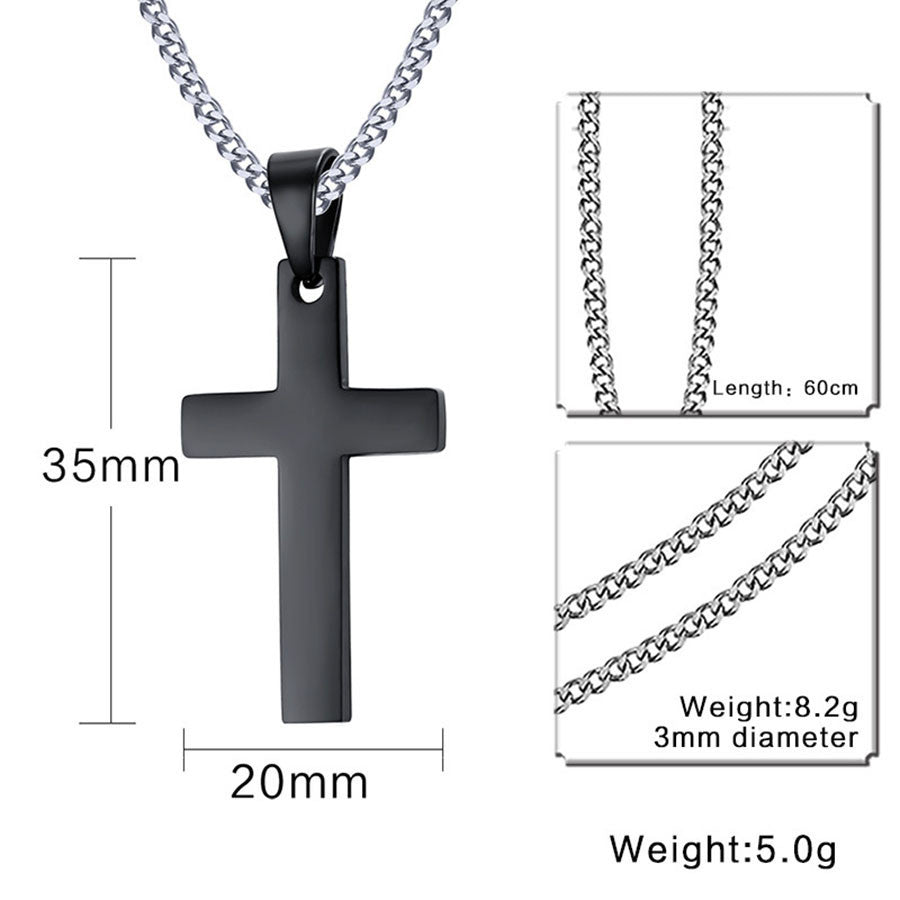 Stainless Steel Link Chain with Cross Pendant - 3 Colors
