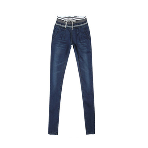 Women's Relaxed Straight Jeans Elastic Drawstring