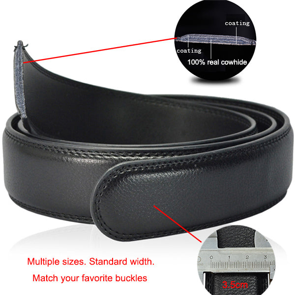 Genuine Leather Belt Strap Only, No Buckle Black