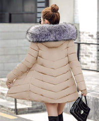 Women's Long Hooded Parka Artificial Racoon Fur - 4 Colors