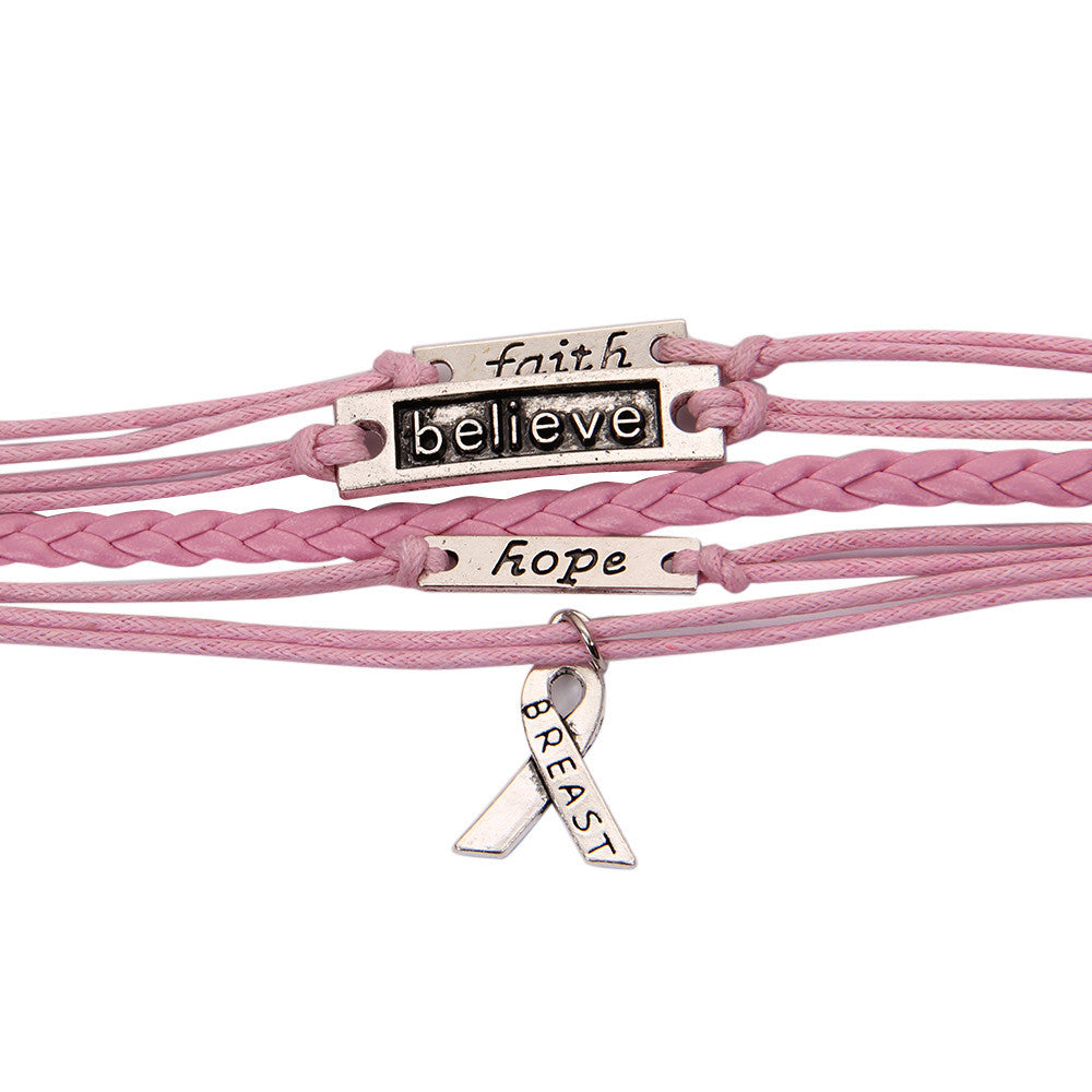 Pink 'Faith, Believe, Hope' Braided Leather Bracelet with Breast Cancer ribbon pendant