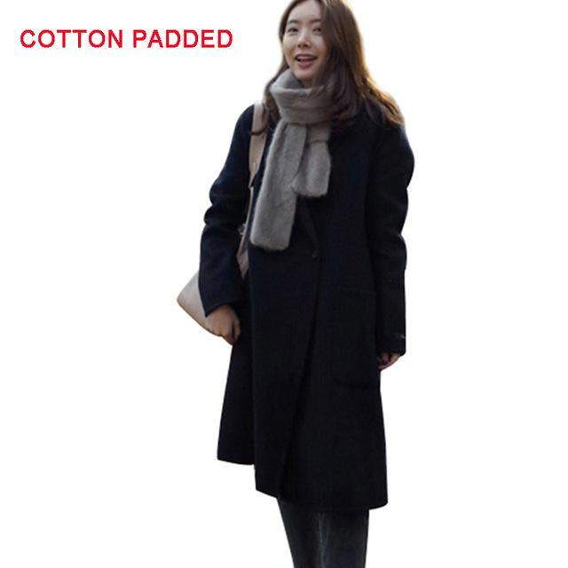 Women's Long Coat Cotton Padded Wool Blend - 4 Colors