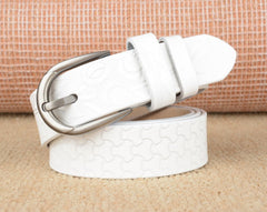 Patterned White Belt