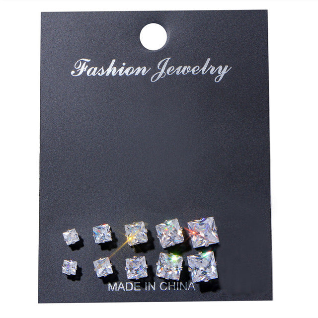 Multi Pair Cubic Zirconia Studs - 4 Shapes