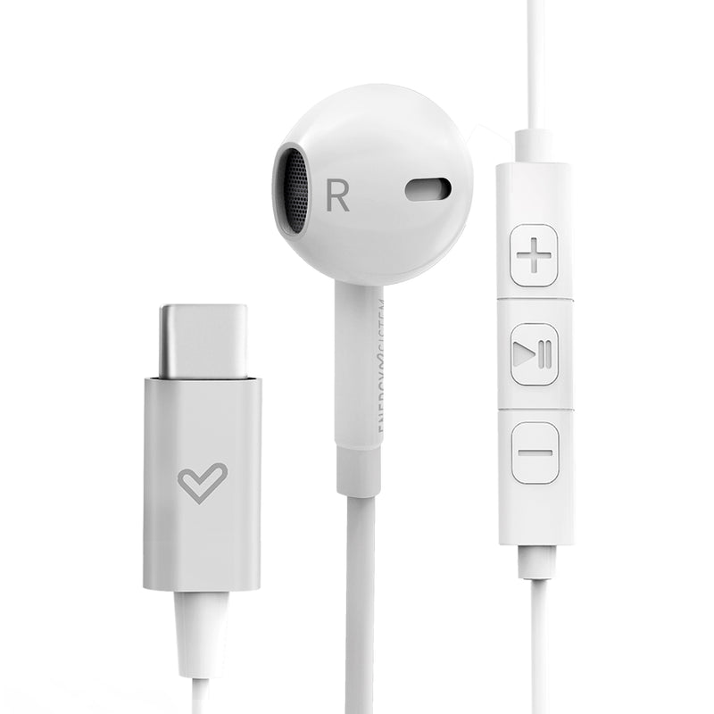 Audífono In Ear Energy Sistem Smart 2,  USB tipo C, micrófono integrado, blanco