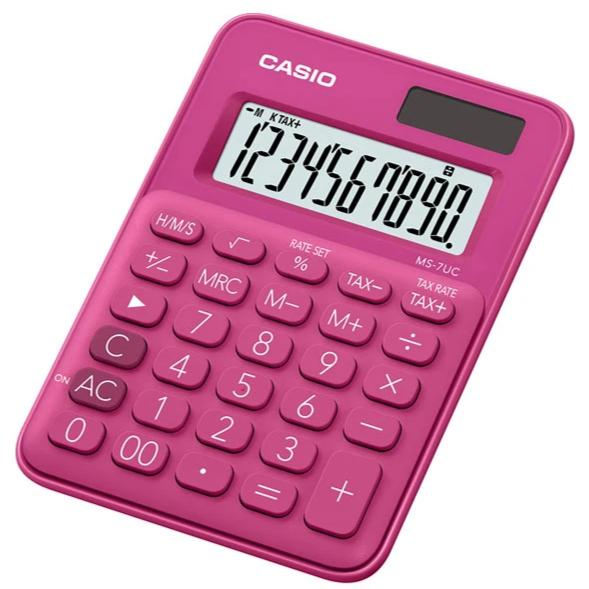 Calculadora Casio MS-7UC-RD, rosado