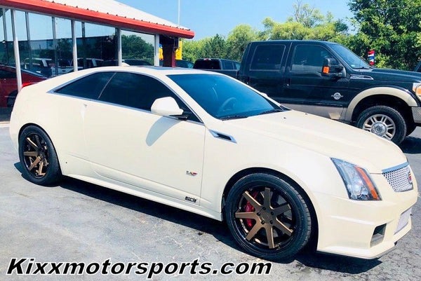 Cadillac CTS-V Coupe with 20x9 20x10.5 Ferrada FR1 Bronze with Black Lip Concave Wheels Rims by Kixx Motorsports https://www.kixxmotorsports.com