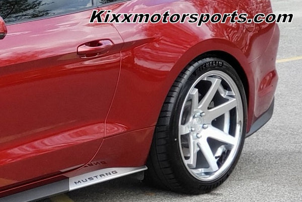Ford Mustang with 20x9 20x10.5 Ferrada FR1 Silver Concave Staggered Wheels Rims by Kixx Motorsports 949-610-6491